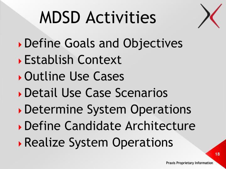 MDSD Activities