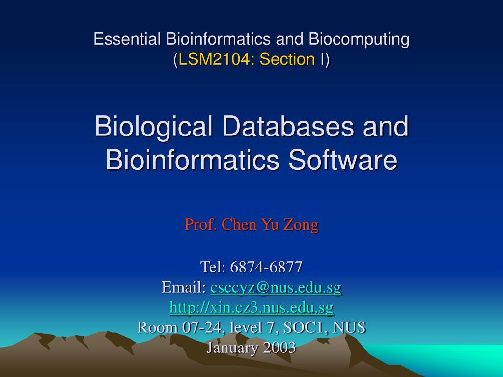 Essential Bioinformatics and Biocomputing