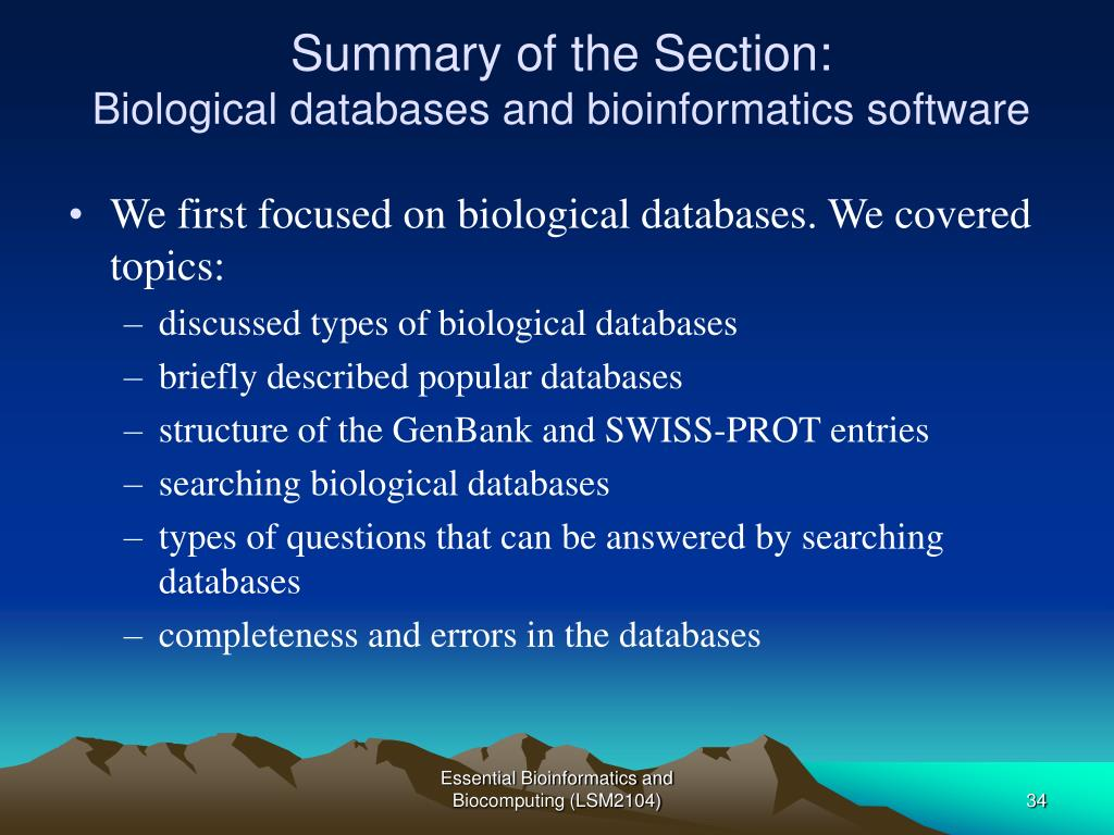 Summary of the Section: