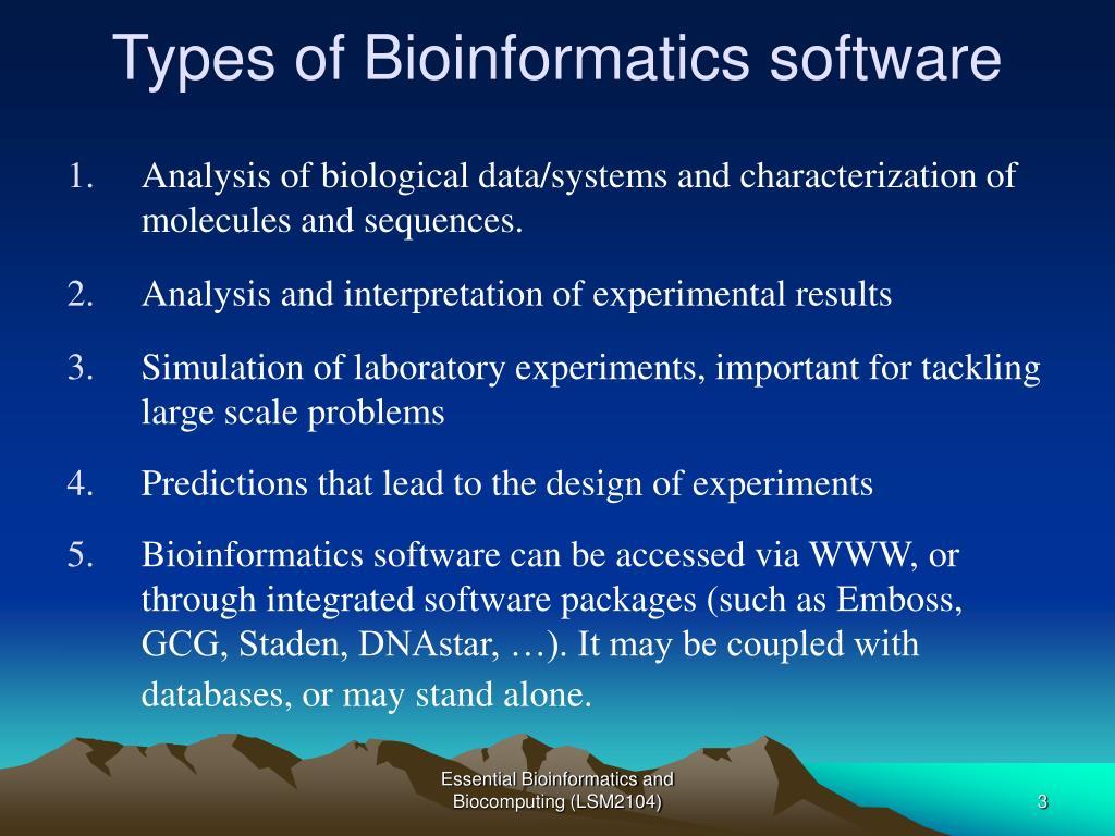 Types of Bioinformatics software