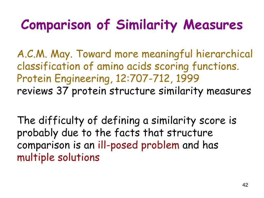 Comparison of Similarity Measures