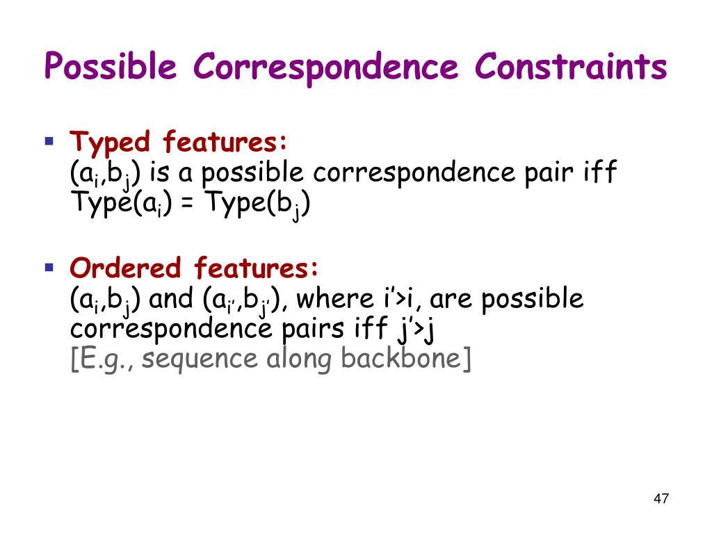 Possible Correspondence Constraints
