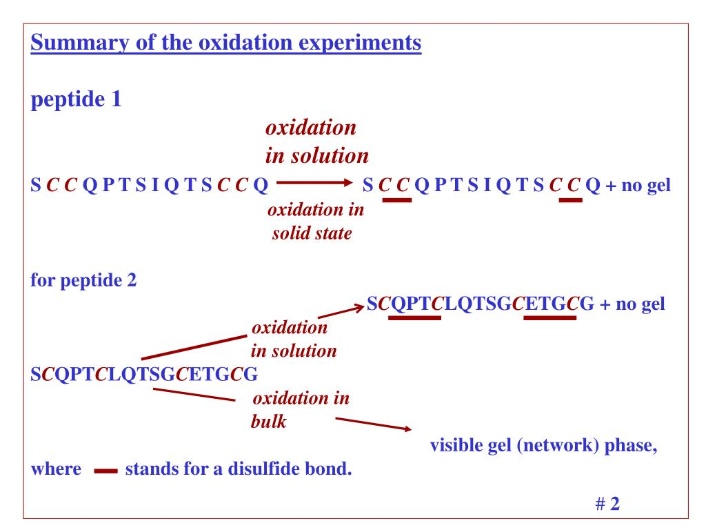 Summary of the oxidation experiments