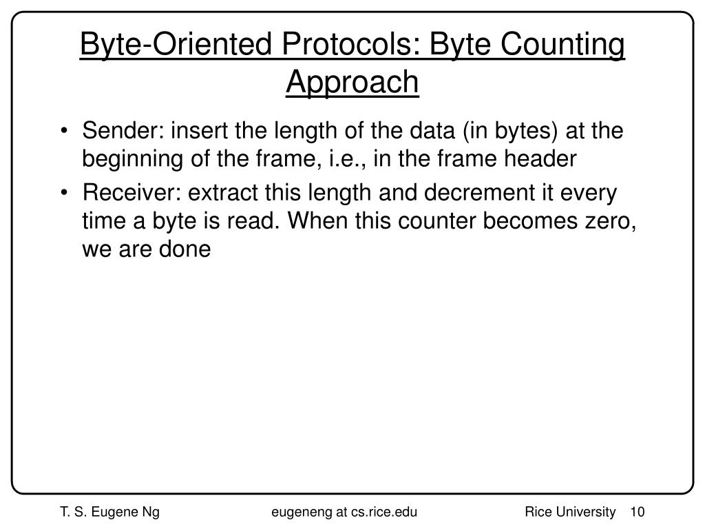 Byte-Oriented Protocols: Byte Counting Approach