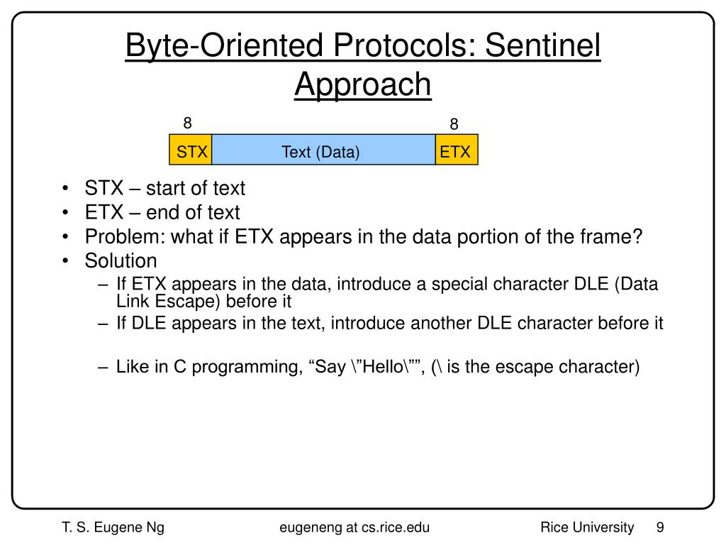 Byte-Oriented Protocols: Sentinel Approach