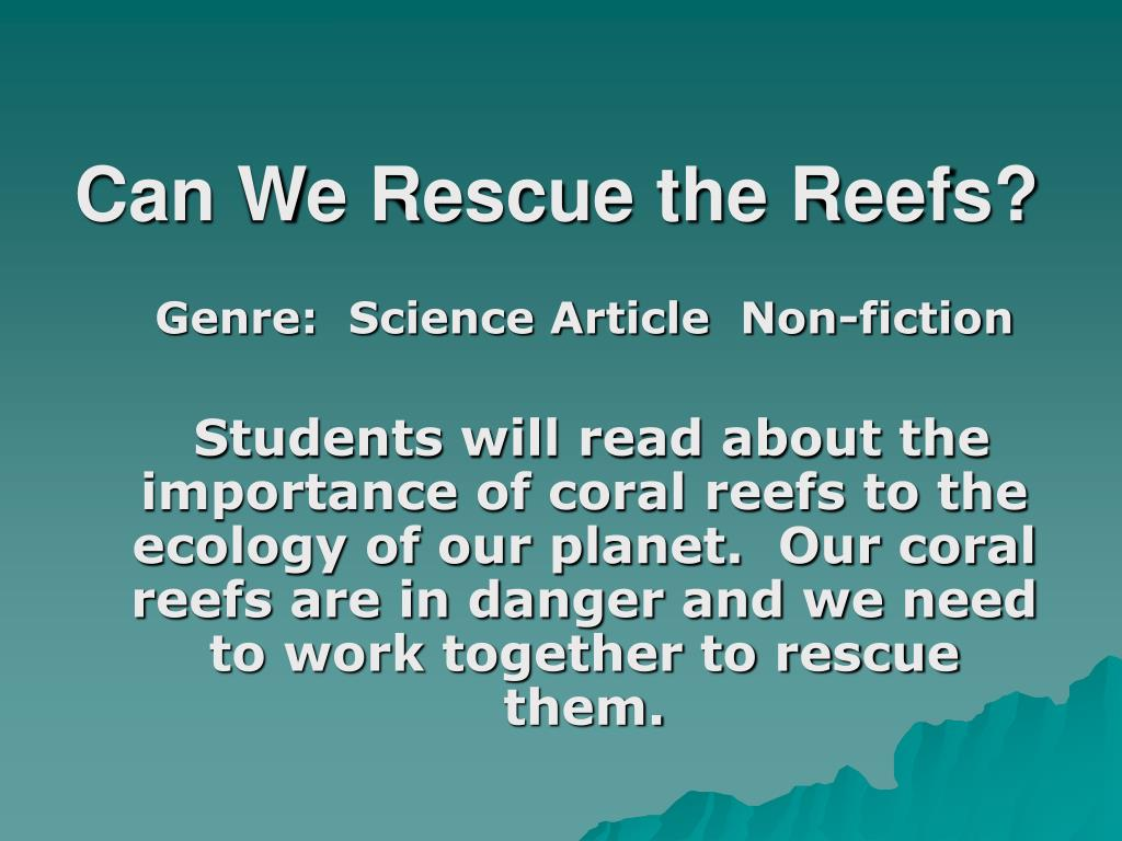 Can We Rescue the Reefs?