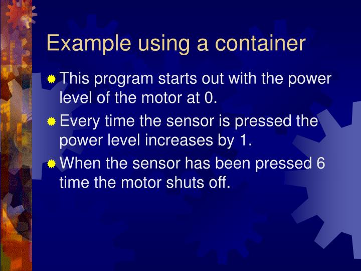 Example using a container