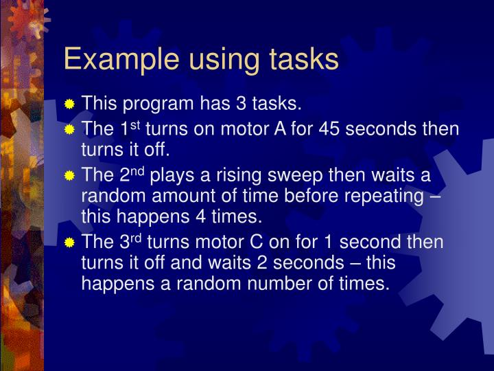Example using tasks