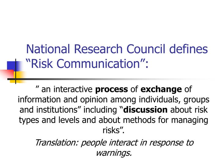 National research council defines risk communication