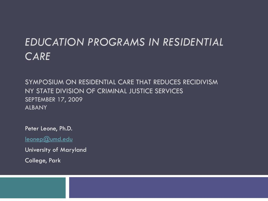 Education Programs in Residential Care