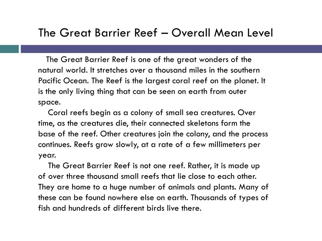 The Great Barrier Reef – Overall Mean Level