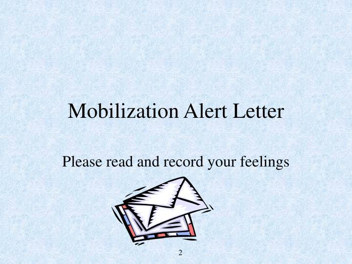 Mobilization Alert Letter