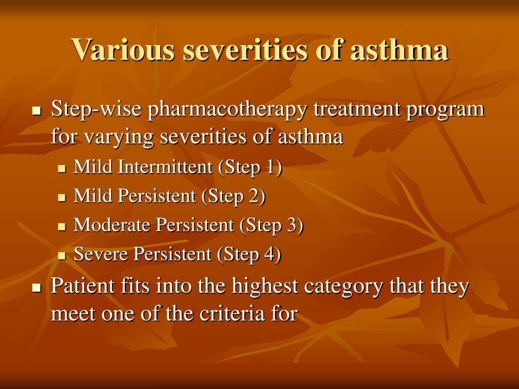 Various severities of asthma
