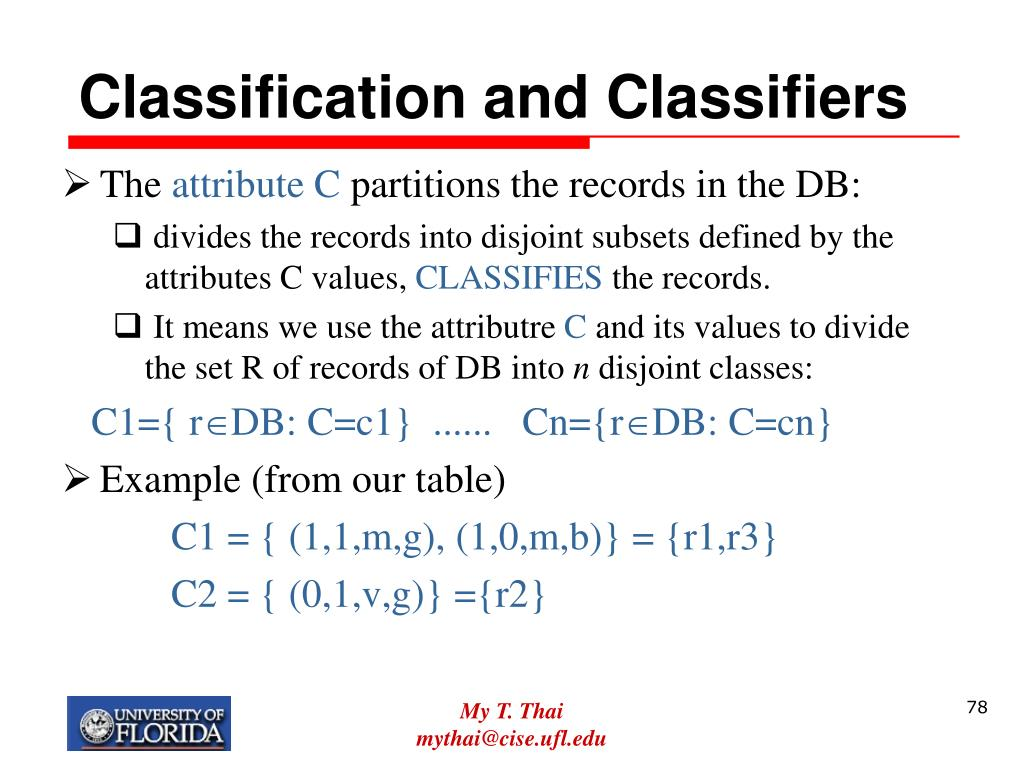 Classification and Classifiers