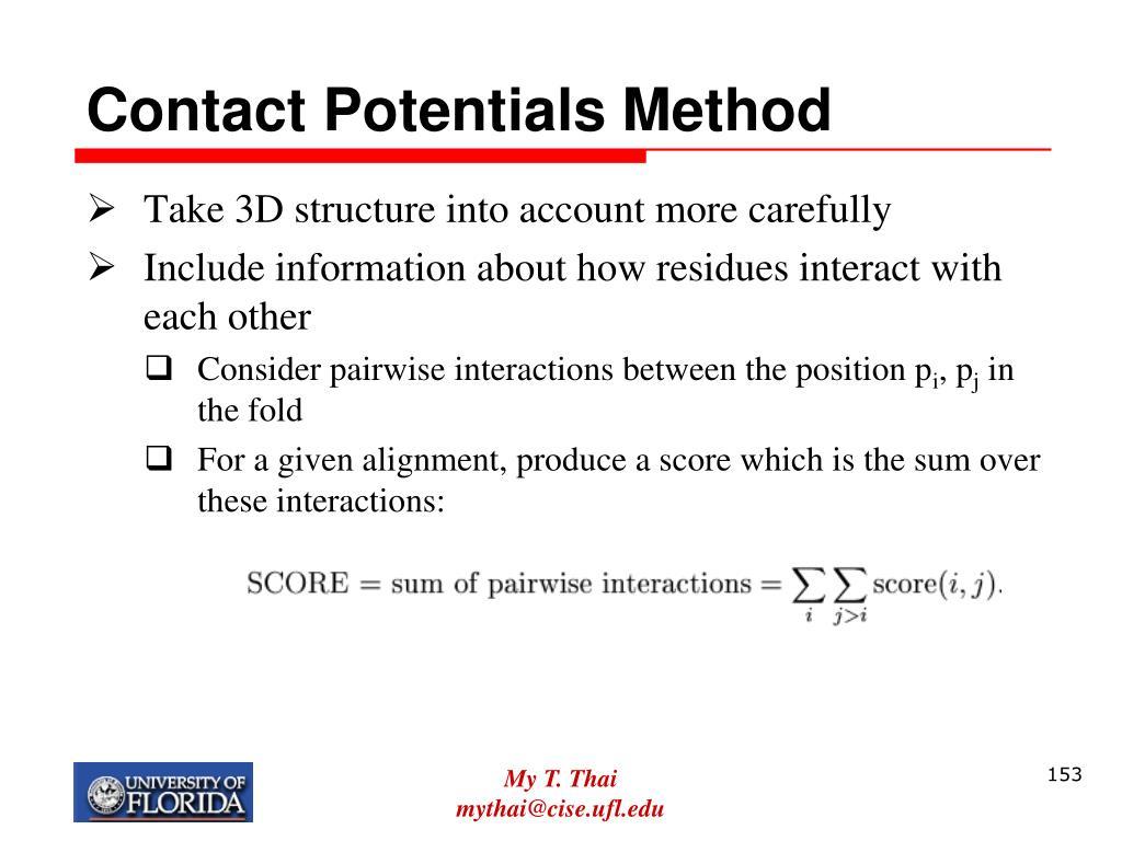 Contact Potentials Method
