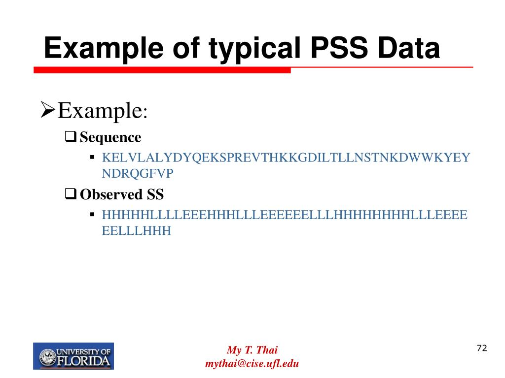 Example of typical PSS Data
