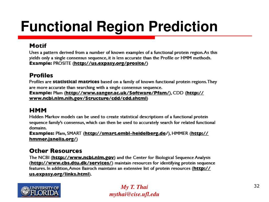 Functional Region Prediction
