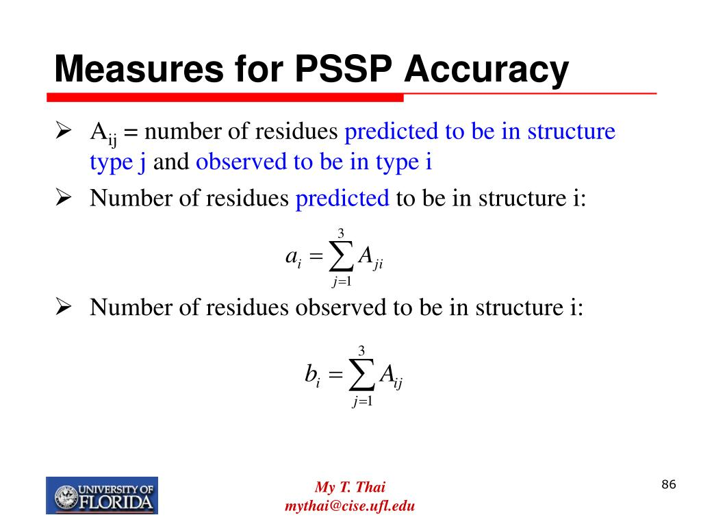 Measures for PSSP Accuracy