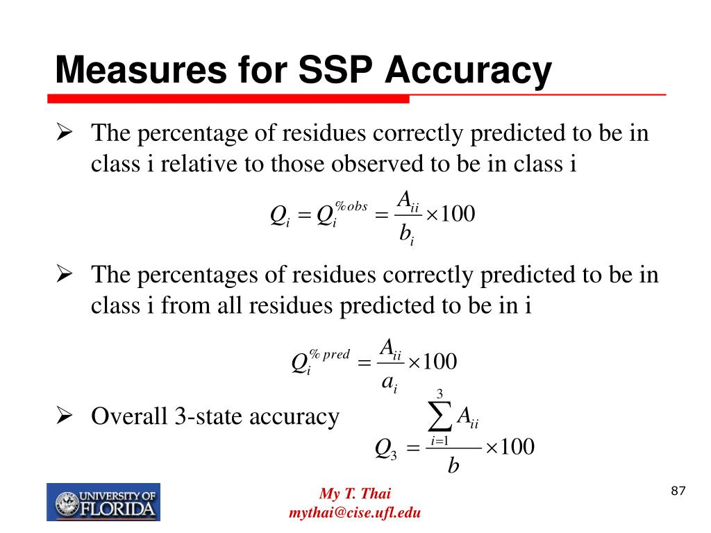 Measures for SSP Accuracy