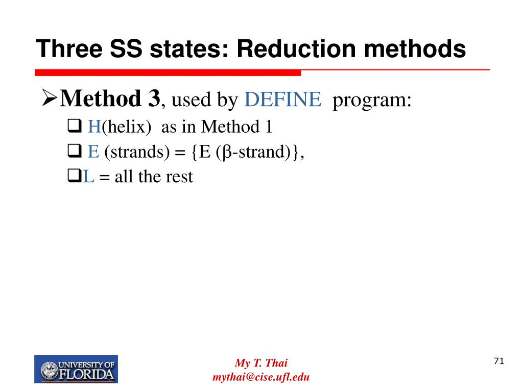 Three SS states: Reduction methods