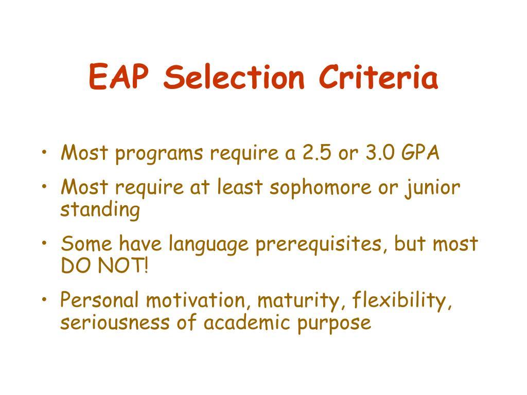 EAP Selection Criteria