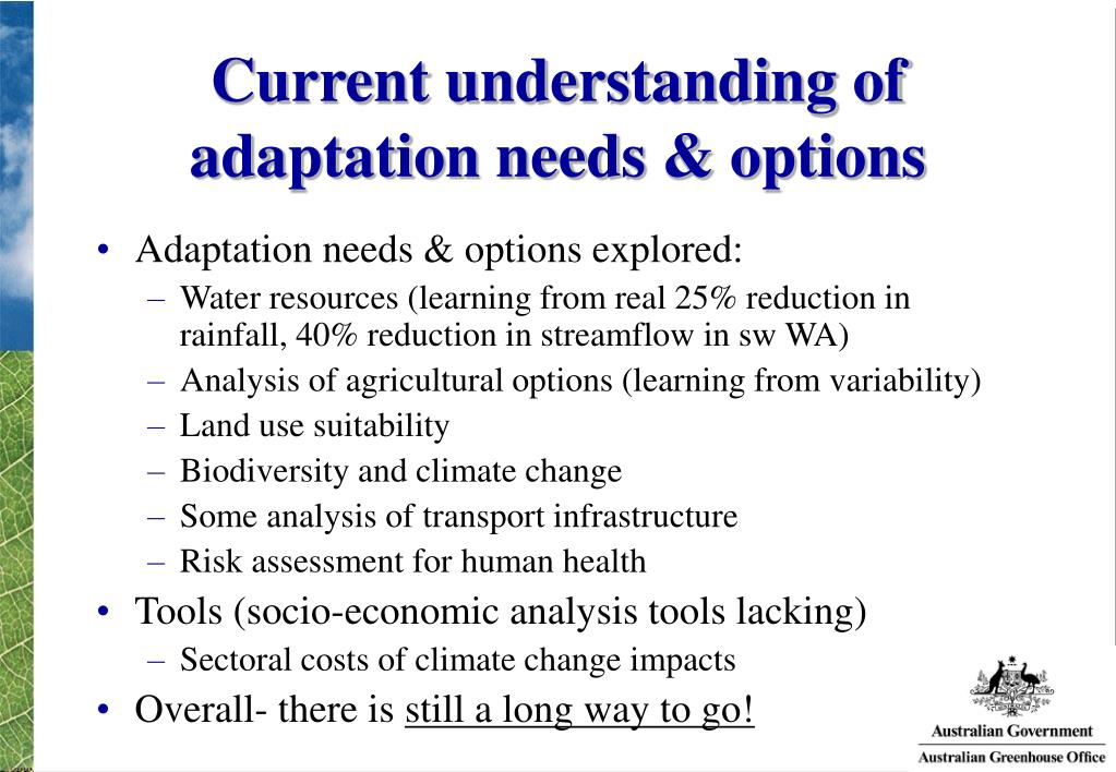 Current understanding of adaptation needs & options