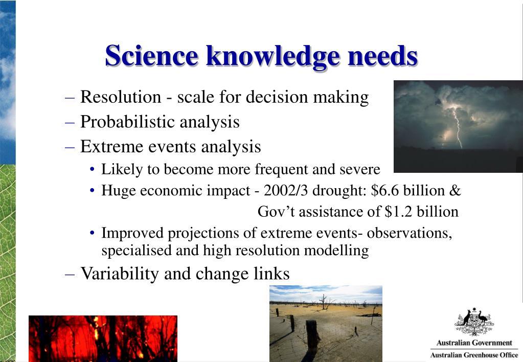 Science knowledge needs