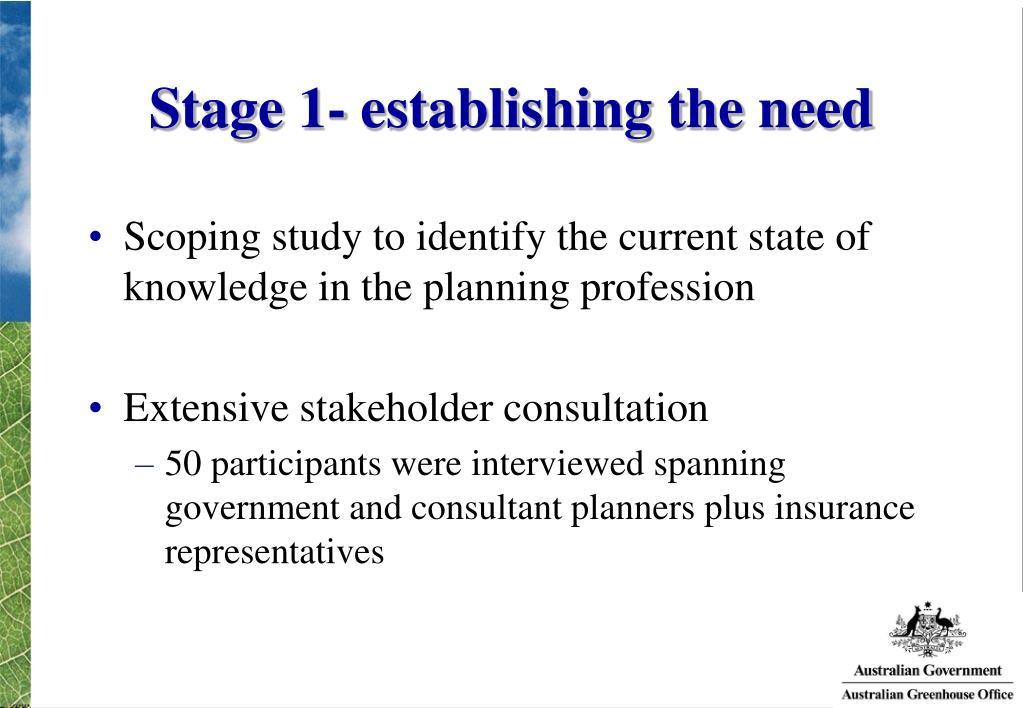 Stage 1- establishing the need