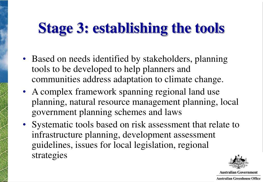 Stage 3: establishing the tools