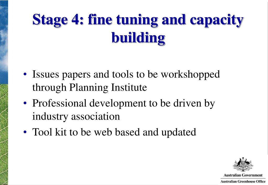 Stage 4: fine tuning and capacity building