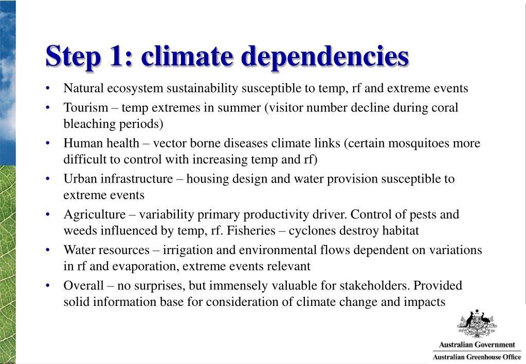 Step 1: climate dependencies