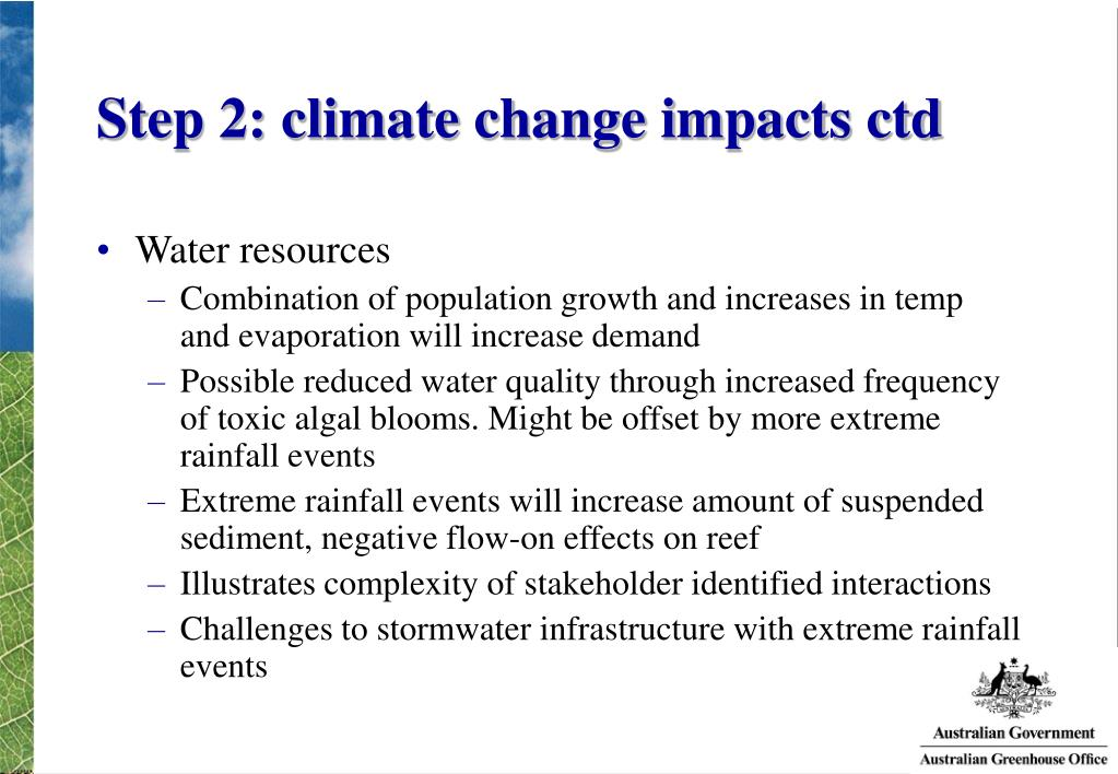 Step 2: climate change impacts ctd