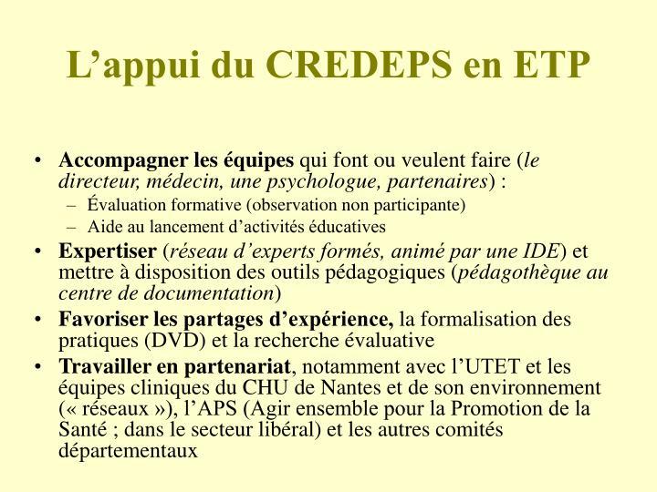L'appui du CREDEPS en ETP