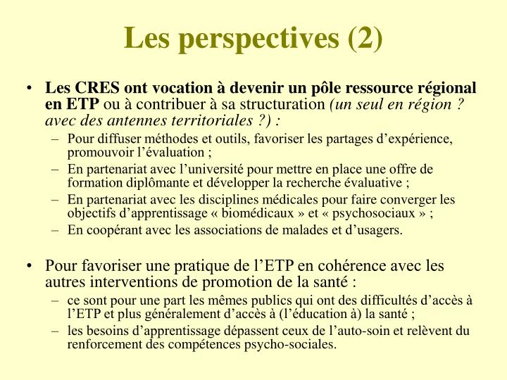 Les perspectives (2)