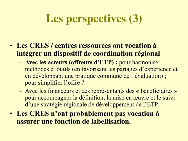 Les perspectives (3)