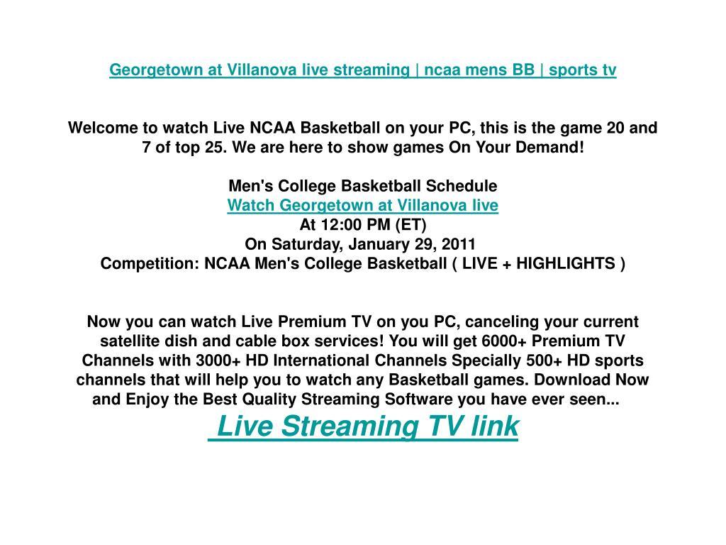 Georgetown at Villanova live streaming | ncaa mens BB | sports tv