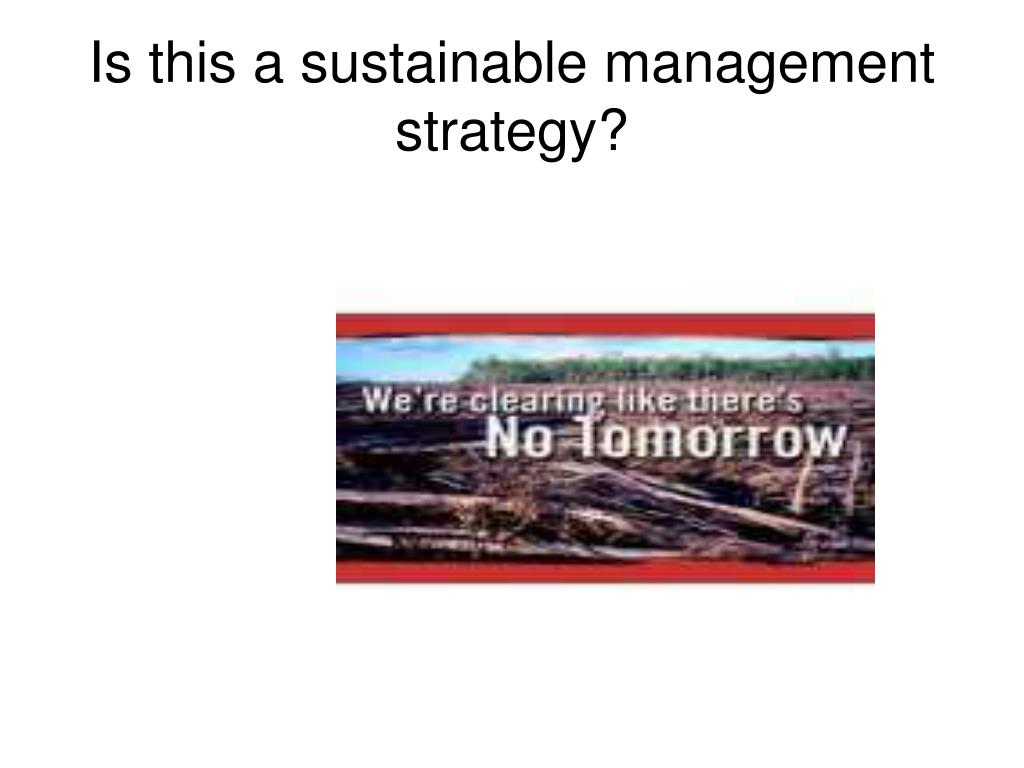 Is this a sustainable management strategy?