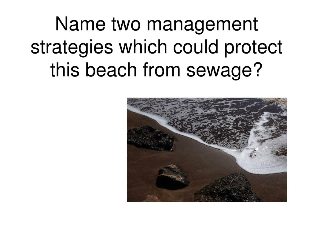 Name two management strategies which could protect this beach from sewage?