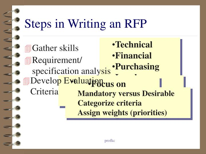writing an rfp A well written request for a proposal (rfp) is essential in ensuring you get well costed, innovative bids from your suppliers these tips for writing an rfp wil help.