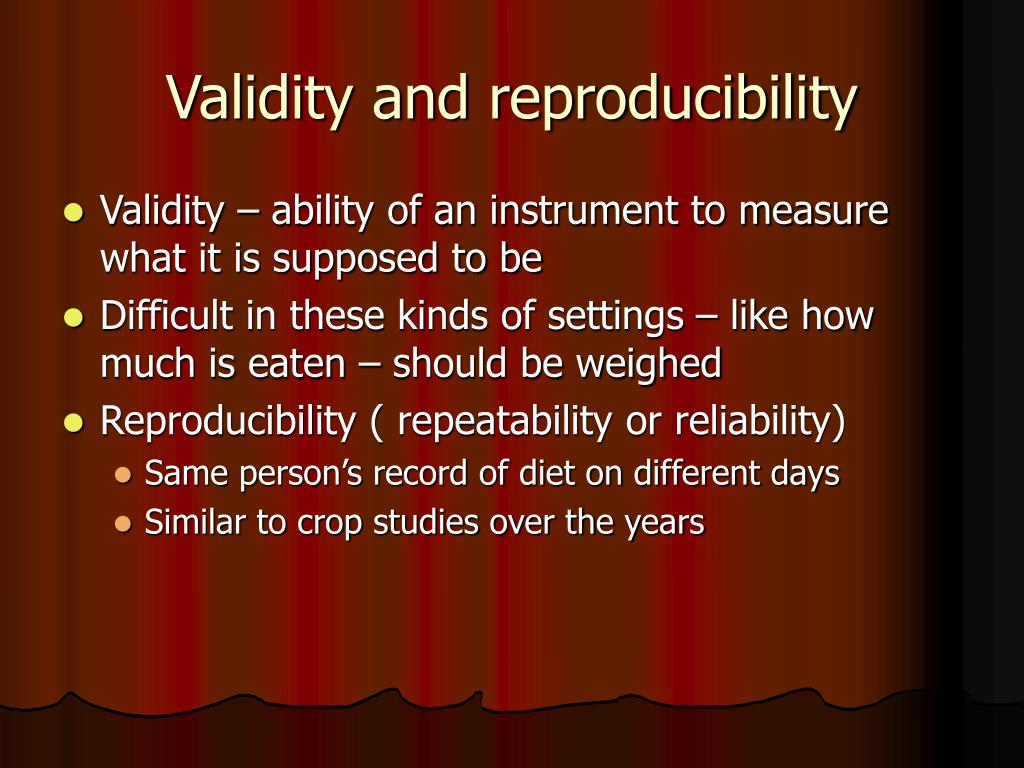 Validity and reproducibility