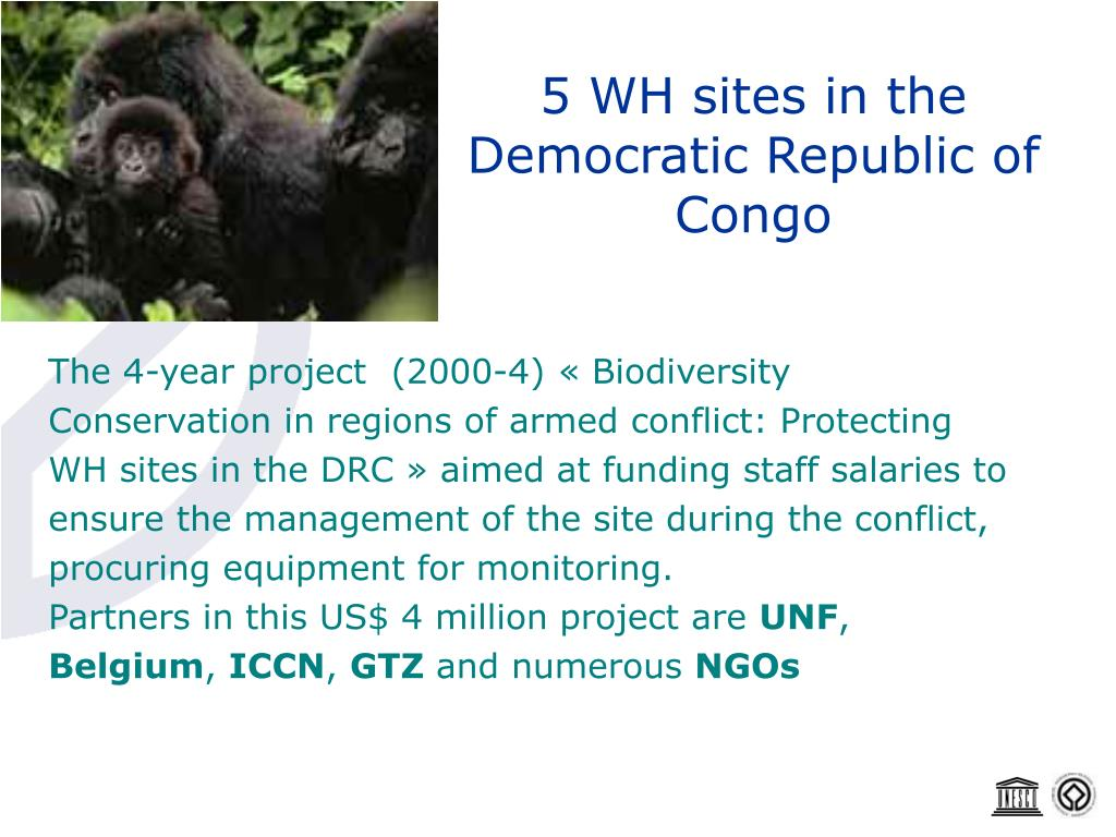 5 WH sites in the Democratic Republic of Congo