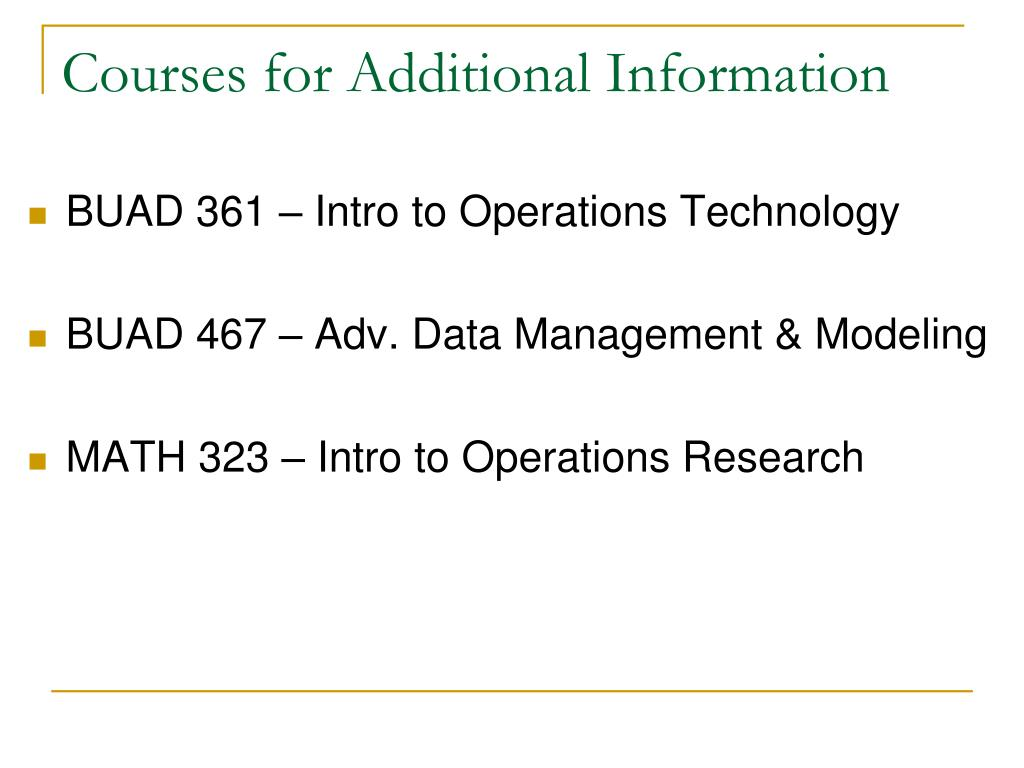 Courses for Additional Information