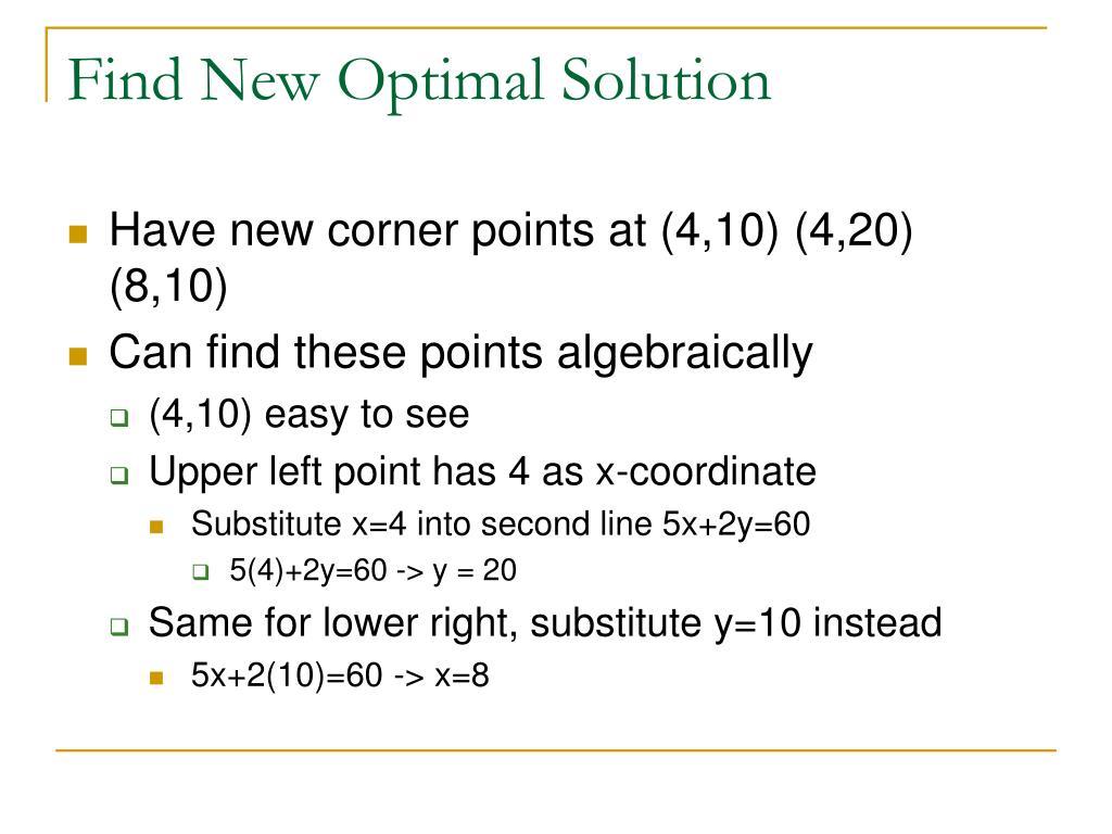 Find New Optimal Solution
