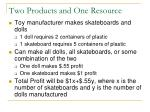 two products and one resource
