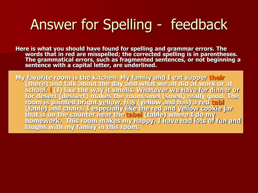 Answer for Spelling -  feedback