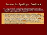 answer for spelling feedback