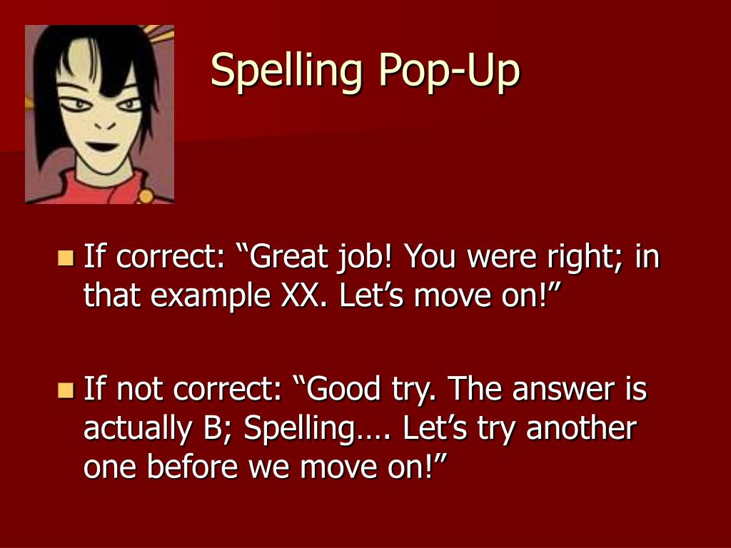 Spelling Pop-Up