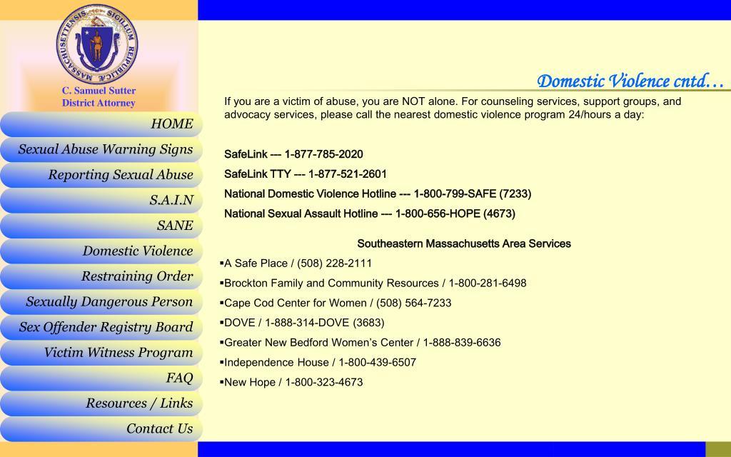 Domestic Violence cntd…