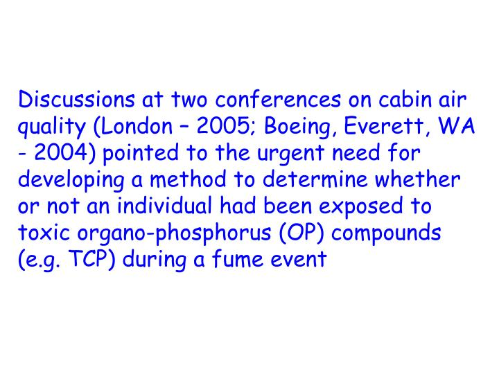 Discussions at two conferences on cabin air quality (London – 2005; Boeing, Everett, WA - 2004) pointed to the urgent need for developing a method to determine whether or not an individual had been exposed to toxic organo-phosphorus (OP) compounds (e.g. TCP) during a fume event