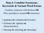 step 4 combine synonyms keywords variant word forms